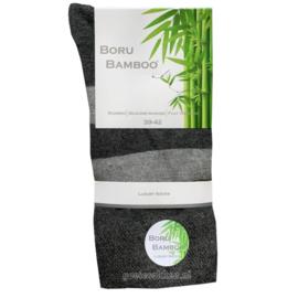 Bamboe-sok | GRIJS | BREDE STREEP | NAADLOOS | BORU