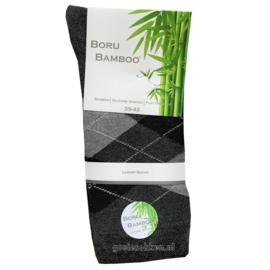 Bamboe-sok | GRIJS | RUIT | NAADLOOS | BORU