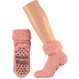 HUISSOKKEN | NATURAL WOOL | ROZE | APOLLO