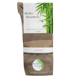 Bamboe-sok | BEIGE | BREDE STREEP | NAADLOOS | BORU