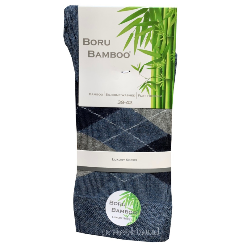 Bamboe-sok | JEANS-BLAUW | RUIT | NAADLOOS | BORU