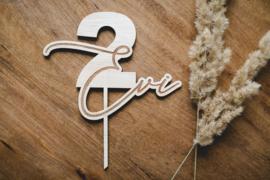Taarttopper hout | naam & leeftijd