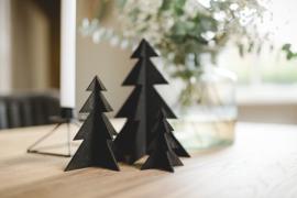 Houten kerstbomen | set zwart