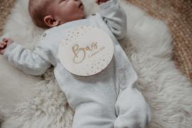 Houten geboortebordje met naam