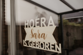 Geboorte raambord van hout | Sara
