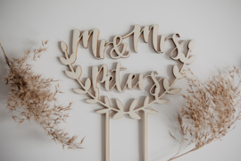 Taarttopper hout | Mr & Mrs