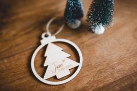 Kerstbal hout | Naam & datum