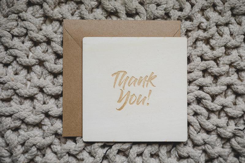 Houten kaart   thank you