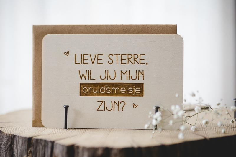 Houten kaarten | bruidsmeisje