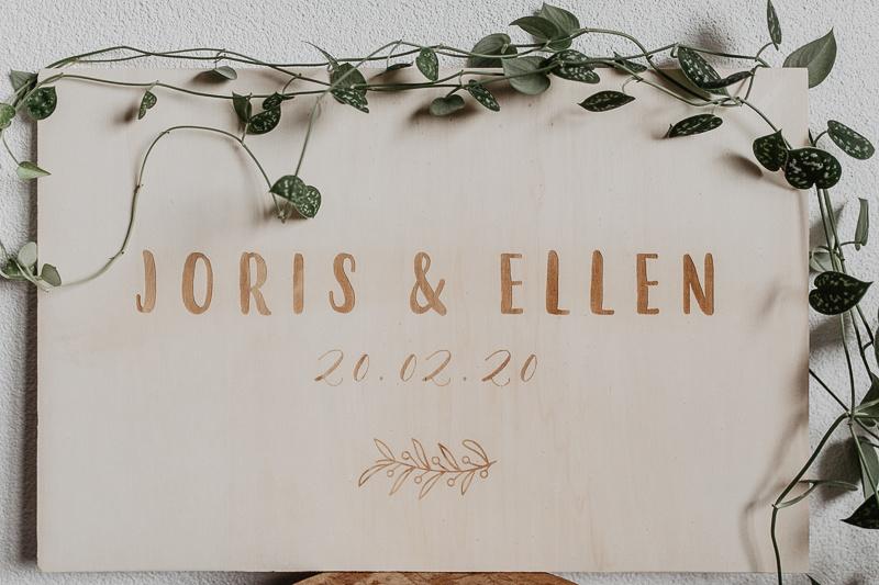 Welkomstbord Ellen   hout