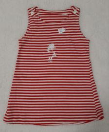 Lief rood/wit tricot jurkje maat 86