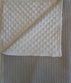 Dekentje  (zilvergrijs/witte minky dot)