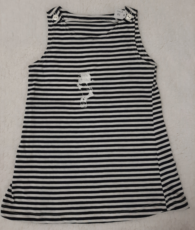 Lief blauw/wit tricot jurkje maat 86
