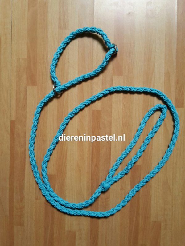 jachtlijn rond gevlochten 10mm, 2  meter, lichtblauw