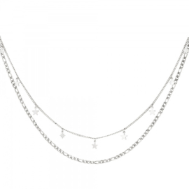 Ketting Double Stars - Zilver