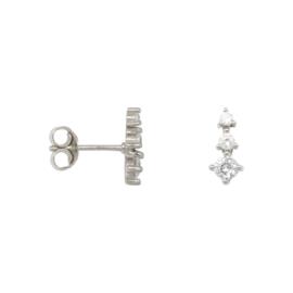 Eline Rosina Zirconia cone earrings - Zilver