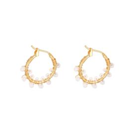 Oorbellen Colourful Crystal Beads - Wit goud