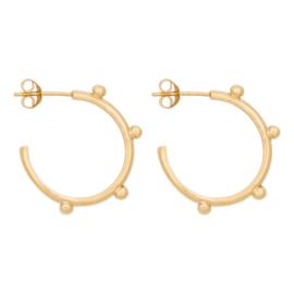 Eline Rosina Large dots hoops - Goud