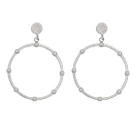 Eline Rosina Dotted Hoop earrings - Zilver