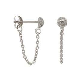 Eline Rosina Snake stud chain earrings - Zilver