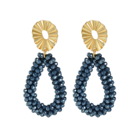 Oorbellen Crystal Hoops - Blue