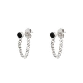 Oorbellen Stone and chain - Zilver