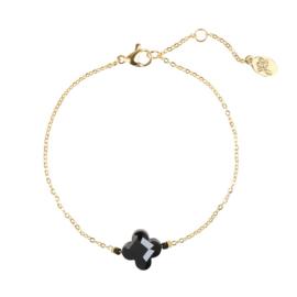 Armband Black Stone Clover - Goud