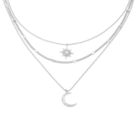 Ketting Chained Star & Moon - Zilver