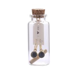 Oorbellen Message in a bottle - Black stone goud