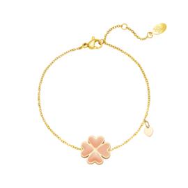 Armband Lucky Heart - Peach goud