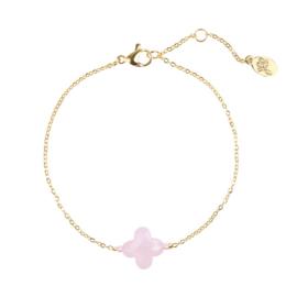 Armband Pink Stone Clover - Goud