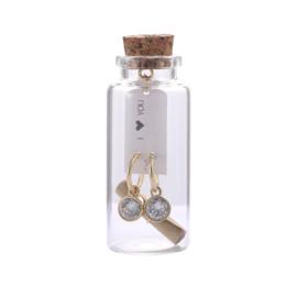Oorbellen Message in a bottle - Crystal stone goud