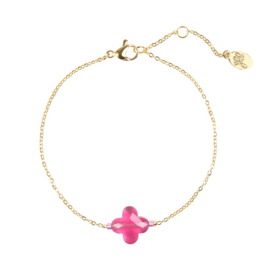 Armband Dark Pink Stone Clover - Goud