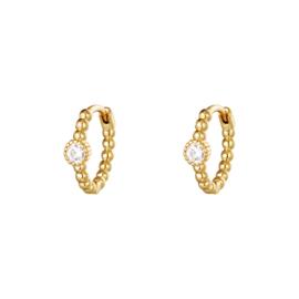 Oorbellen Pearls In A Row - Goud