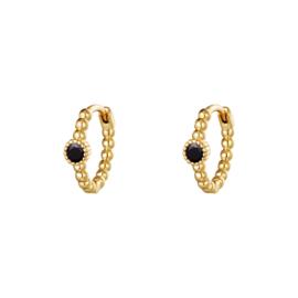 Oorbellen Pearls In A Row - Zwart