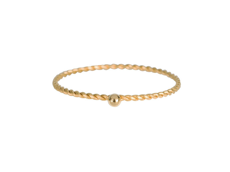 Ring Dot Twisted Gold Steel