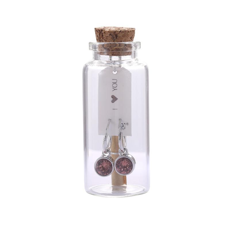 Oorbellen Message in a bottle - Pink stone zilver