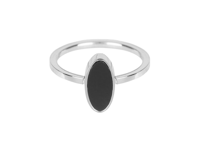 Ring Silver Oval Black Stone