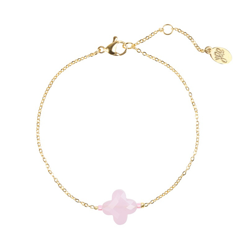 Armband Pink Stone Clover - Goud