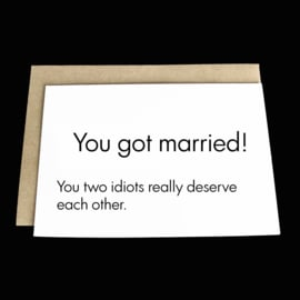 the 'like watching two  monkeys put a ring on it' card