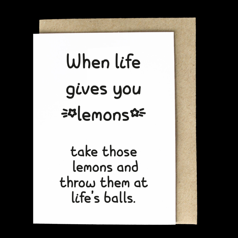 the 'lemonade is for children' card