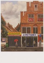 Ansichtkaart Het verlopen straatje van Vermeer