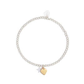 "Armband ""Gold heart silver star"" goldplated"