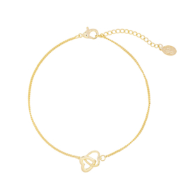 armband two hearts goldplated