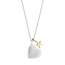 "Ketting ""Two tone heart and star""silverplated"