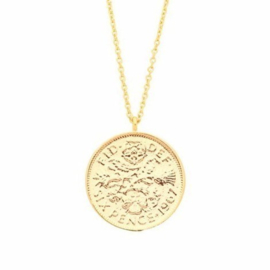 "Ketting ""Lucky 6 Pence"" goldplated"