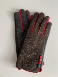Handschoenen urban chic  bruin/grijs
