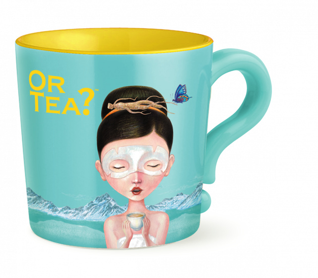 Or tea? Mok turquoise (ginseng beauty) met rvs zeef