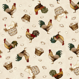 Henry Glass Count your Blessings Cream Rooster & Hens 2355-33