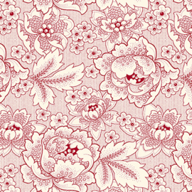 Quilting Treasures Colebrook Antiquities 26010-ER Cream-Red Large Linear Floral